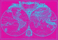 World Map (1775) Pink & Blue