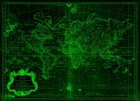 World Map (1778) Black & Green
