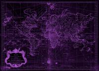 World Map (1778) Black & Purple