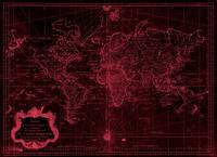 World Map (1778) Black & Light Red