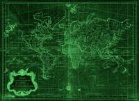World Map (1778) Dark Green & Light Green