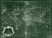 World Map (1778) Green & White