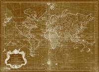 World Map (1778) Light Brown & White