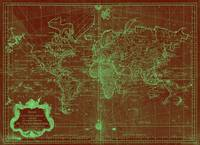 World Map (1778) Red & Light Green