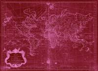 World Map (1778) Red & Pink