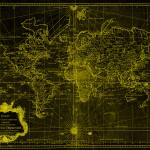 """World Map (1778) Black & Yellow"" by Alleycatshirts"