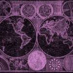"""World Map (1794) Black & Purple"" by Alleycatshirts"