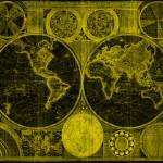 """World Map (1794) Black & Yellow"" by Alleycatshirts"