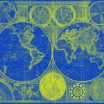 """World Map (1794) Blue & Yellow"" by Alleycatshirts"
