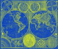 World Map (1794) Blue & Yellow