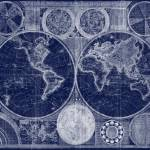 """World Map (1794) Blue & White"" by Alleycatshirts"