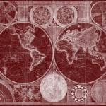 """World Map (1794) Dark Red & White"" by Alleycatshirts"