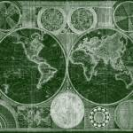 """World Map (1794) Green & White"" by Alleycatshirts"