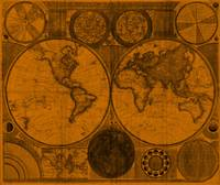 World Map (1794) Orange & Black