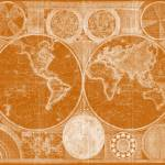 """World Map (1794) Orange & White"" by Alleycatshirts"