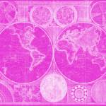 """World Map (1794) Pink & White"" by Alleycatshirts"
