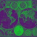 """World Map (1794) Purple & Green"" by Alleycatshirts"