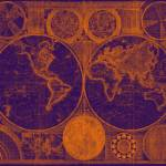 """World Map (1794) Purple & Orange"" by Alleycatshirts"