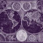 """World Map (1794) Purple & White"" by Alleycatshirts"