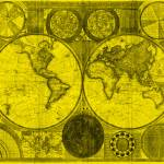 """World Map (1794) Yellow & Black"" by Alleycatshirts"