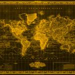 """Vintage Map of The World (1833) Black & Orange"" by Alleycatshirts"