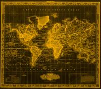 Vintage Map of The World (1833) Black & Orange