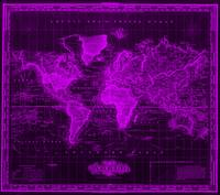 Vintage Map of The World (1833) Black & Purple