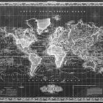 """Vintage Map of The World (1833) Black & White"" by Alleycatshirts"
