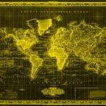 """Vintage Map of The World (1833) Black & Yellow"" by Alleycatshirts"