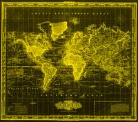 Vintage Map of The World (1833) Black & Yellow