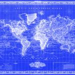 """Vintage Map of The World (1833) Blue & White"" by Alleycatshirts"