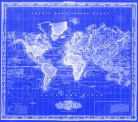 Vintage Map of The World (1833) Blue & White