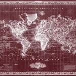 """Vintage Map of The World (1833) Dark Red & White"" by Alleycatshirts"