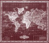 Vintage Map of The World (1833) Dark Red & White