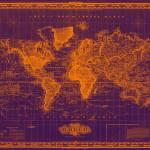 """Vintage Map of The World (1833) Purple & Orange"" by Alleycatshirts"
