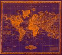 Vintage Map of The World (1833) Purple & Orange