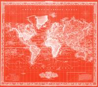 Vintage Map of The World (1833) Red & White