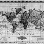 """Vintage Map of The World (1833) White & Black"" by Alleycatshirts"
