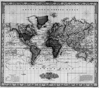 Vintage Map of The World (1833) White & Black