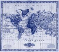 Vintage Map of The World (1833) White & Blue