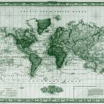 """Vintage Map of The World (1833) White & Green"" by Alleycatshirts"