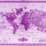"""Vintage Map of The World (1833) White & Purple"" by Alleycatshirts"
