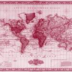 """Vintage Map of The World (1833) White & Red"" by Alleycatshirts"