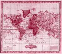 Vintage Map of The World (1833) White & Red