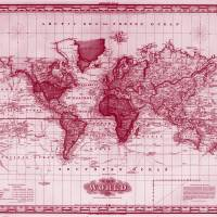 Vintage Map of The World (1833) White & Red Art Prints & Posters by Alleycatshirts @Zazzle