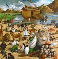 Noah and the Ark, Animals, Rainbow, Painting