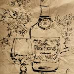 """Cognac Bottle and Snifter Mixed Media"" by GinetteCallaway"
