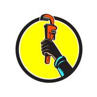 Black Plumber Hand Raising Monkey Wrench Circle