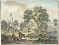 Dilapidated house and village church, Hendrik Meij