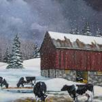 """Holstein Dairy Cows in Snow with Red Barn"" by joyart"
